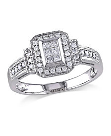 Princess and Round Certified Diamond (1/3 ct. t.w.) Halo Engagement Ring in 14k White Gold