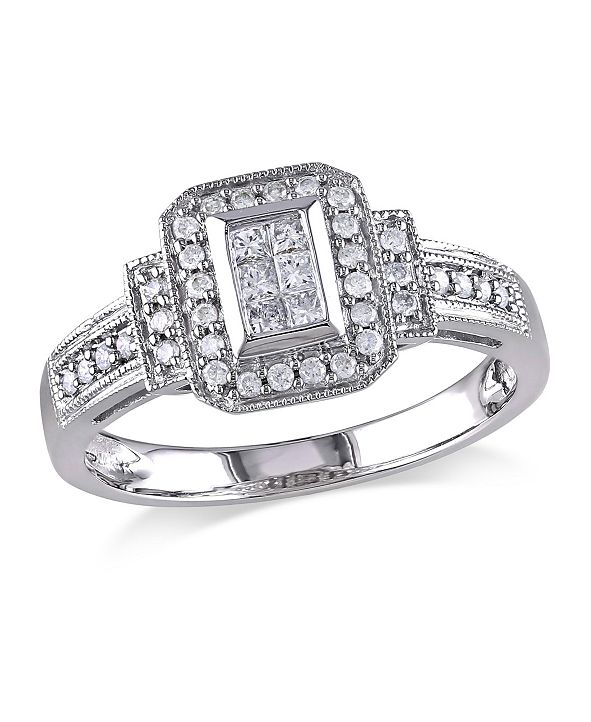 Macy's Princess and Round Certified Diamond (1/3 ct. t.w.) Halo Engagement Ring in 14k White Gold