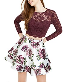 Juniors' Lace Top & Floral Skirt
