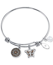 Granddaughter Charm Bangle Bracelet in Two-Tone Stainless Steel