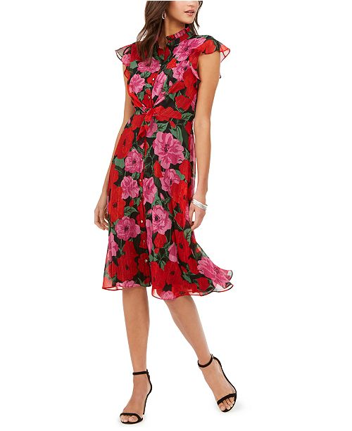 julia jordan Floral-Print Flutter-Sleeve Dress