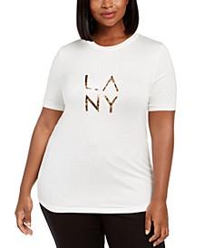Trendy Plus Size Embellished Logo T-Shirt