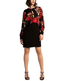 Preston Floral-Print Cape-Overlay Dress
