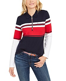 Striped Half-Zip Polo