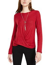 Juniors' Twist-Front Rib-Knit Sweater