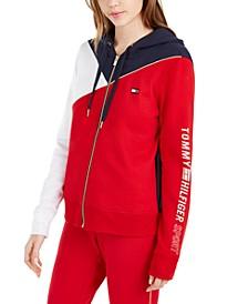 Colorblocked Zip-Up Hooded Sweatshirt