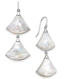 Mother-of-Pearl Fan Drop Earrings in Sterling Silver