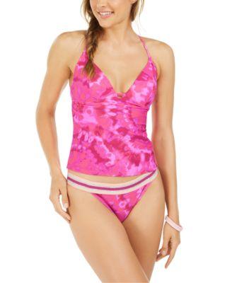 Juniors' Hana Beach Tie-Dye Printed Push-Up Tankini Top, Created For Macy's