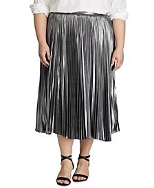 Plus Size Pleated Metallic Skirt