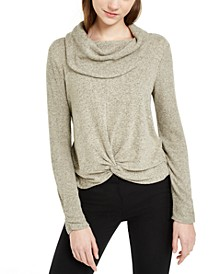 Juniors' Textured Cowlneck Twist-Front Sweater