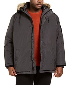 Men's Big & Tall Alternative Down Parka Jacket with Faux Fur Hood