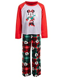 Little & Big Girls 2-Pc. Minnie Mouse Plaid Pajama Set