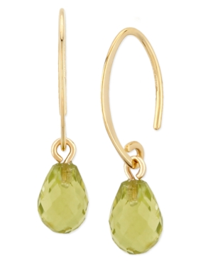 Gemstone Briolette Drop Earring in 14k Yellow Gold Available in Amethyst
