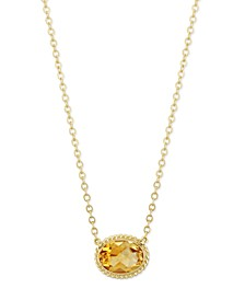 Gemstone Twist Gallery Necklace in 14k Yellow Gold