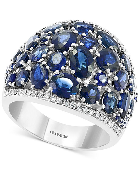 EFFY Collection EFFY® Sapphire (6-5/8 ct. t.w.) & Diamond (1/5 ct. t.w.) Statement Ring in 14k White Gold