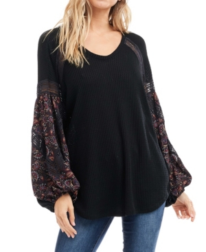 Fever Long Sleeve Printed Waffle V-neck Top In Black