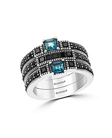 EFFY Blue Topaz and Black Spinel (2-1/5 ct. t.w.) Ring in Sterling Silver