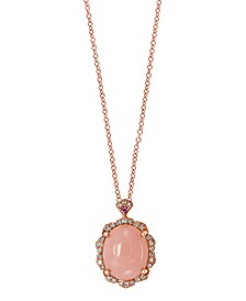 EFFY® Pink Opal (2 1/2 ct.t.w.) and Diamond (1/10 ct.t.w.) Pendant in 14K Rose Gold