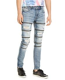 Men's Skinny-Fit Zipper Jeans