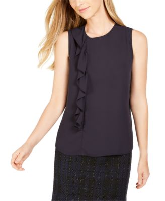 Side-Ruffle Sleeveless Top