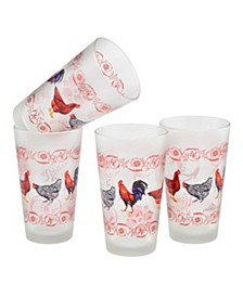 French Country Chicken Pint Glass 16-oz Set of 4