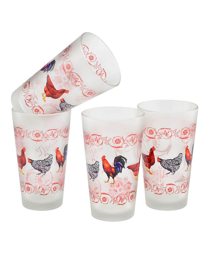 Culver - French Country Chicken Pint Glass 16-oz Set of 4