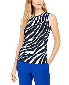 Animal Printed Pleated Top