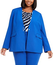 Plus Size Collarless V-Neck Blazer