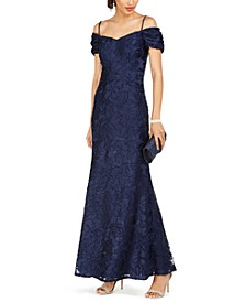 Off-The-Shoulder Burnout Velvet Gown