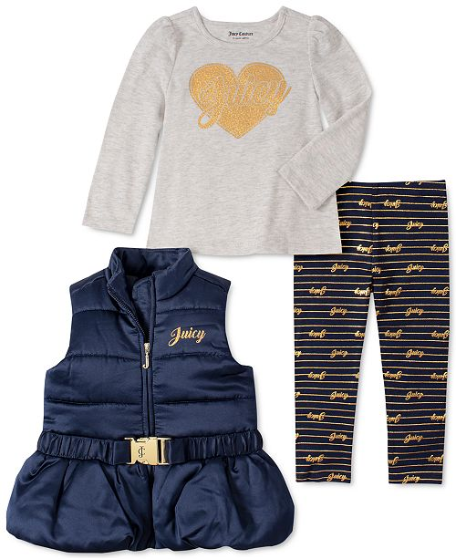 Juicy Couture Toddler Girls 3-Pc. Belted Vest, Heart Top & Printed Leggings Set
