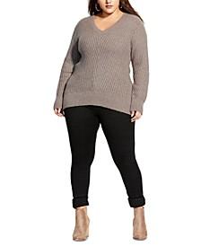 Trendy Plus Size Soft V-Neck Sweater