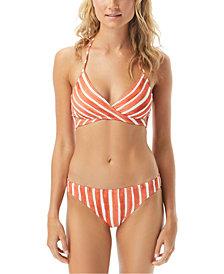 Vince Camuto Hammock Stripe Printed Wrap Halter Bikini Top & Classic Bottoms