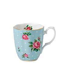 Polka Blue Rose Vintage Mug