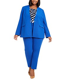 Plus Size Collarless Blazer, Gathered-Neck Top & Slim Pants