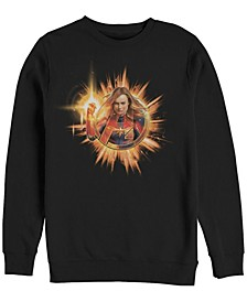 Men's Captain Marvel Fire Burst Chest Logo, Crewneck Fleece