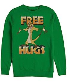 Men's Lion King Timon Free Hugs, Crewneck Fleece