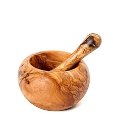 Olive Wood Round Pestle and Mortar