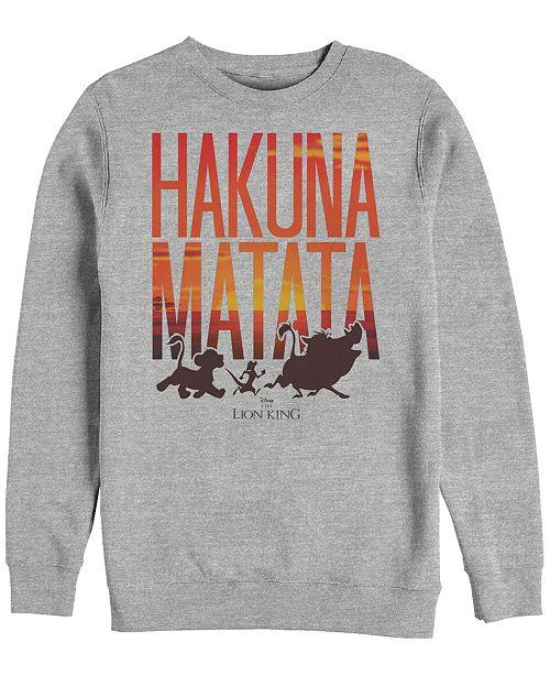 Disney Men's Lion King Hakuna Matata Sunset Text, Crewneck Fleece