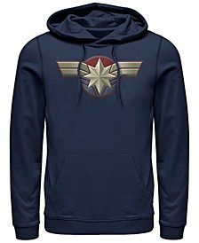 Men's Captain Marvel Chest Logo Costume, Pullover Hoodie