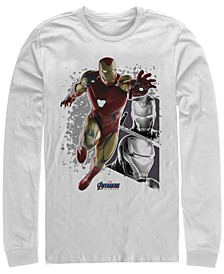 Men's Avengers Endgame Iron Man Jump Action Pose Panels, Long Sleeve T-shirt