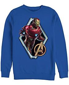 Men's Avengers Endgame Iron Man Diamond Portrait, Crewneck Fleece