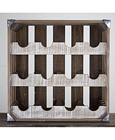 American Art Decor Rustic Wood 12 Bottle Wine Rack