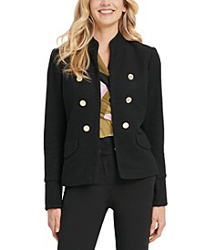 Stand-Collar Double-Breasted Military Jacket