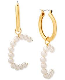 "Small Imitation Pearl Initial Hoop Earring 1.1"""