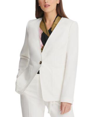 Collarless Single-Button Blazer