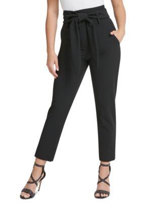 Belted Slim-Leg Pants