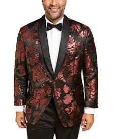 INC Men's Big & Tall Rust Jacquard Floral Blazer
