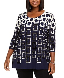 Plus Size Geo-Print Stretch Tunic, Created For Macy's