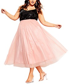 Trendy Plus Size Tulle Midi Skirt