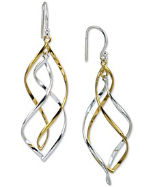 Two-Tone Double Twist Drop Earrings in Sterling Silver & 18k Gold-Plate